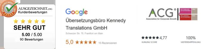 Auszeichnungen für das Übersetzungsbüro Kennedy Translations GmbH